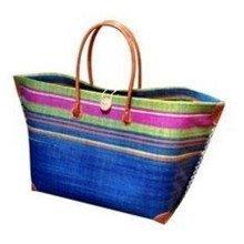 Madagascar Raffia Blue Beach Basket