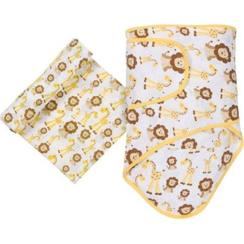 MiracleWare 4940 Giraffes & Lions Blanket & Muslin Swaddle Set