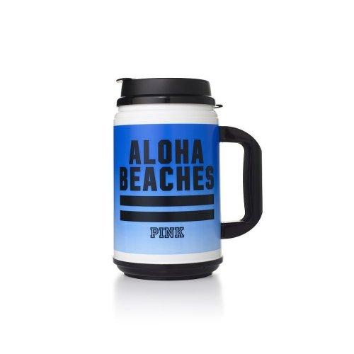 Victoria's Secret PINK Chug Mug Travel Cup Blue Aloha Beaches Spring Break
