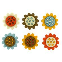 Harvest Blooms - Flower Shaped Novelty Craft Buttons / Embellishments by Dress It Up