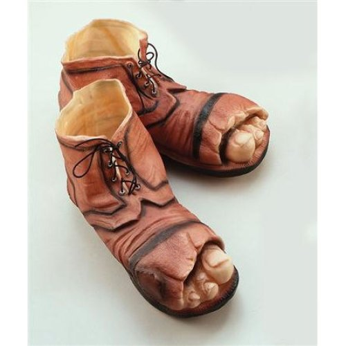 Brown Adults Holey Tramp Boots - Fancy Dress Shoes Clown Giant Rubber One Size -  tramp boots fancy dress shoes clown giant rubber one size accessory