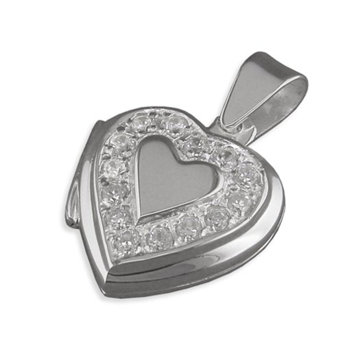 Childrens Sterling Silver Cubic Zirconia Surround Heart Locket On A Curb Necklace