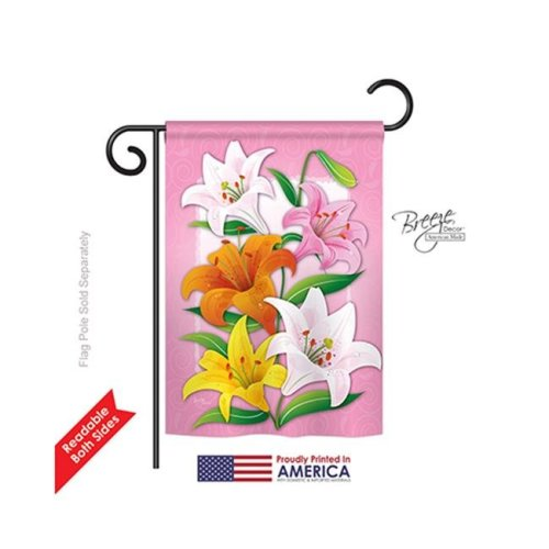 Floral Lilies 2-Sided Impression Garden Flag - 13 x 18.5 in.
