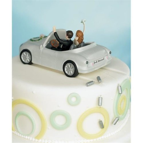 Weddingstar 8515   Honeymoon Bound   Couple in Car Cake Topper