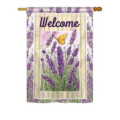 Breeze Decor BD-FL-H-104090-IP-BO-DS02-US Lavender Spring - Everyday Floral Impressions Decorative Vertical House Flag - 28 x 40 in.