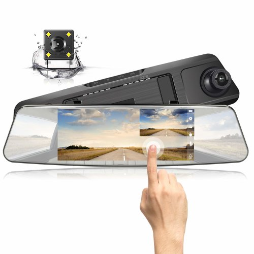 "Jeemak Mirror Dash Cam 1080P HD Dual Lens 7"" Touch Screen Wide Angle Dashboard Camera for Cars Front and Rear View with Waterproof Reverse..."