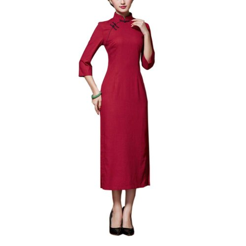 Chinese Traditional Style Solid Color Dress Cheongsam Qipao Party Dresses, C