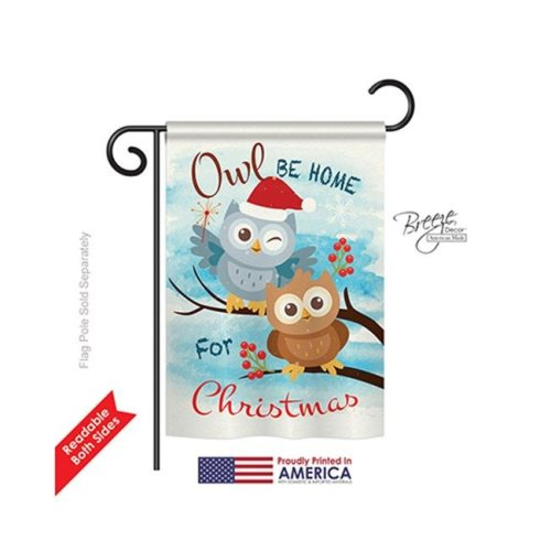 Breeze Decor 64004 Christmas Owl Xmas 2-Sided Impression Garden Flag - 13 x 18.5 in.