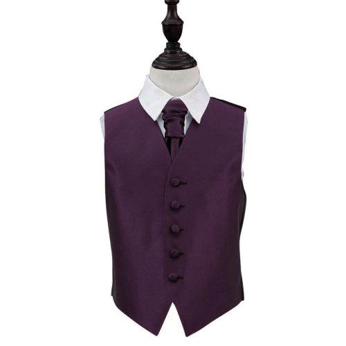 Cadbury Purple Solid Check Wedding Waistcoat & Cravat Set for Boys 30'
