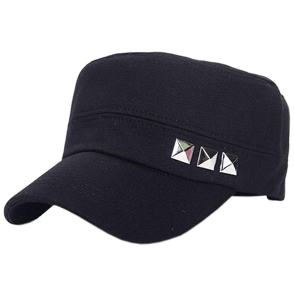 abed332d950 Unisex Outdoors Sports Cap Rivet Peaked Cap Adjustable Baseball Cap B-Black  on OnBuy