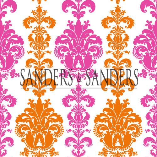 wallpaper baroque print pink and orange - 935222 - from Sanders & Sanders
