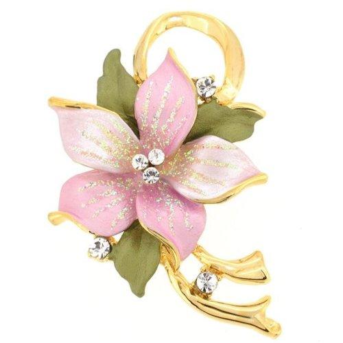d21be69b883 Fantasyard Poinsettia Swarovski Crystal Flower Brooch Pin & Pendant - Pink  - 1.5 x 2 in. on OnBuy
