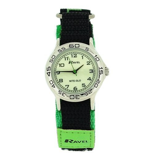 Ravel Boys' Nite-Glo Black & Green Velcro Strap Watch