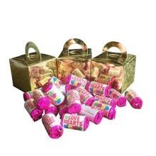 9 Boxes of Mini Love Hearts Filled Holographic Star Gold Cube Balloon Weight Favour Boxes