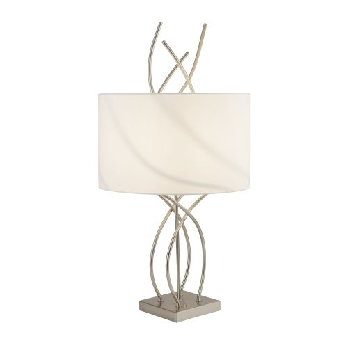 Searchlight Flame Table Lamp With SS Base And White Shade