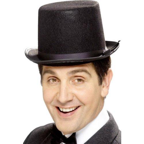 Smiffy's Topper Hat Felt With Band - Black -  hat topper black fancy dress mens victorian