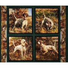 Dogs Cushion Panels Cotton Quilting Fabric Wild Wings Point North