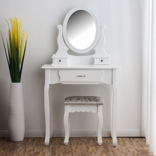 Cherry Tree Furniture Dressing Table 3-Drawer Makeup Dresser Set with Stool Oval Mirror