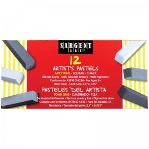Sargent Art SAR224116 Square Chalk 12 Grey Tones Colors Pastels