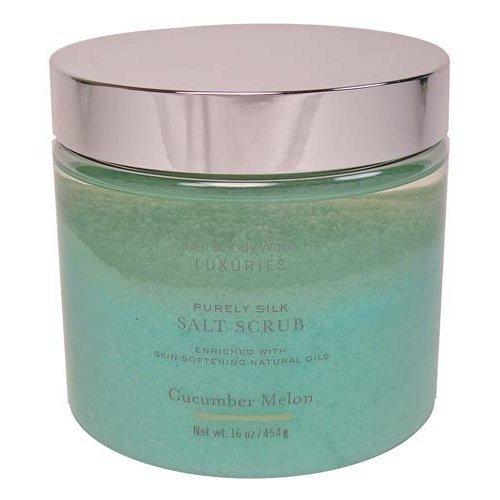 Bath & Body Works Luxuries Purely Silk Cucumber Melon Salt Scrub 16 oz/ 454 g