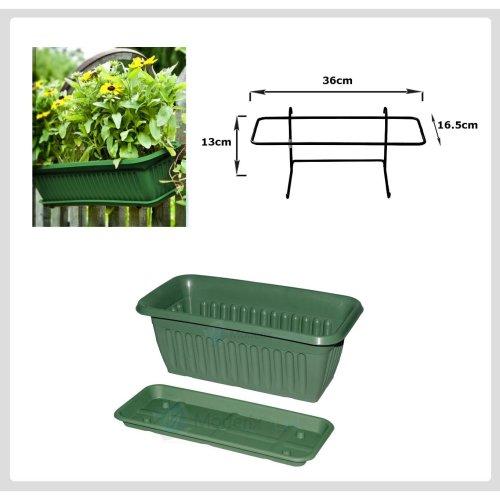 Plastic Garden Indoor Outdoor Flower Plant Pot Green 40x20cm - Iron Holder
