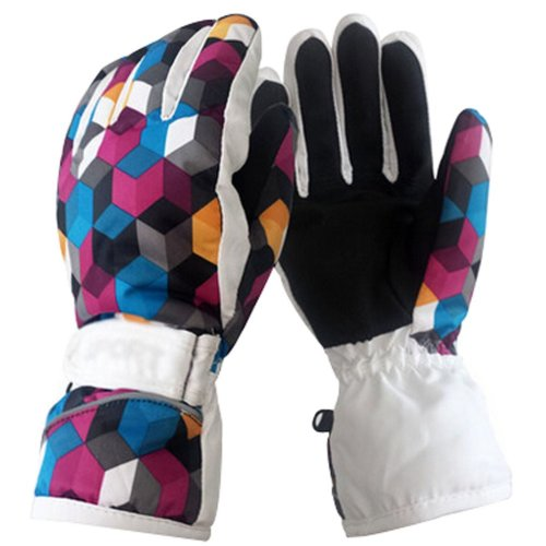 Colorful Ski Gloves Outdoor Warm Gloves Fashion Cycling Gloves White