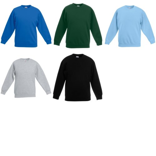 Fruit Of The Loom Childrens Unisex Set In Sleeve Sweatshirt (Pack of 2)
