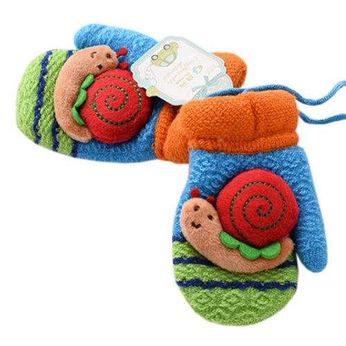 1 Pair Kids' Winter Glove Knitted Mittens With Sling(0-3 Years) Snail Blue