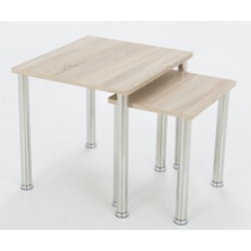 King Whitewashed Oak Effect Nest of 2 Tables, Square, for Living Rooms, Lounges, Study, etc