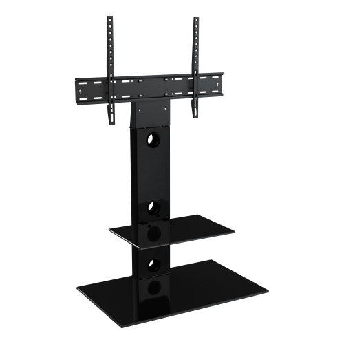 """King Cantilever TV Stand with Brackets, Black, Rectangle Base, TVs up to 60"""""""