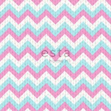 wallpaper zigzag motif turquoise and pink - 138136
