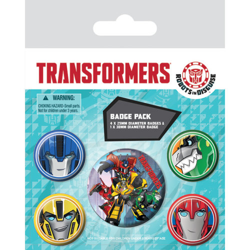 TRANSFORMERS Faces Badge Pack of 5 Safety Pin Backed Badges