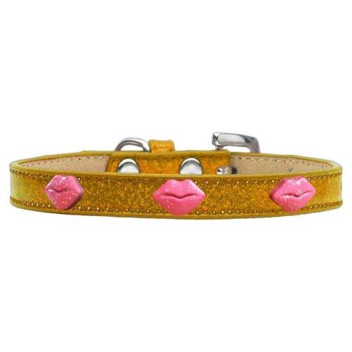 Mirage Pet 633-9 GD20 Pink Glitter Lips Widget Dog Collar - Gold Ice Cream, Size 20