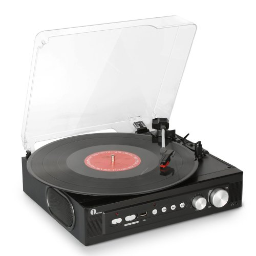 1byone Stereo Record Player with Built in Speakers, Mini Belt Drive Turntable Support Vinly-To-MP3 Recording, RCA Output and USB MP3 Playback
