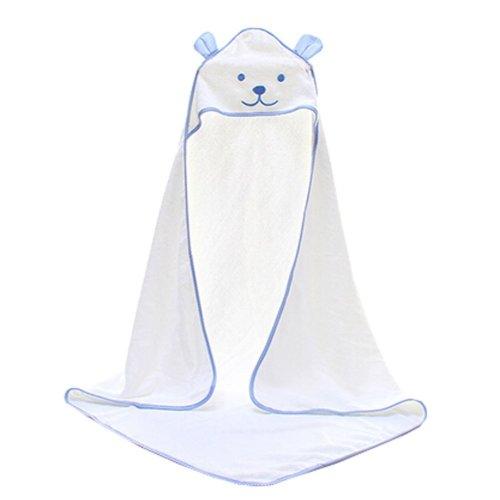 Baby Soft Cotton Breathable Bath Towel Kids Bathcloth Cloak Bathrobe 0-7 Years(White)
