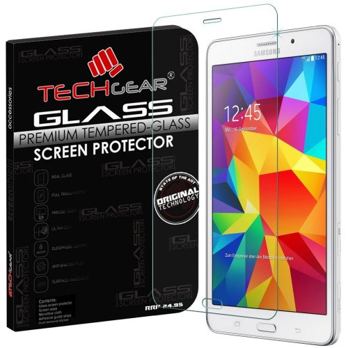 TECHGEAR Screen Protector for Galaxy Tab 4 7.0 Inch with WiFi SM-T230 - GLASS Edition Genuine Tempered Glass Screen Protector Guard Cover...