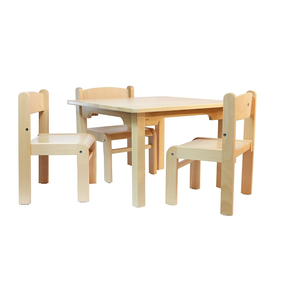Childrens Furniture Beech Wood 1 Table Amp 3 Chairs No