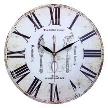 Obique Home Decoration Vintage Style MDF Cutlery Scene Wall Clock 34cm