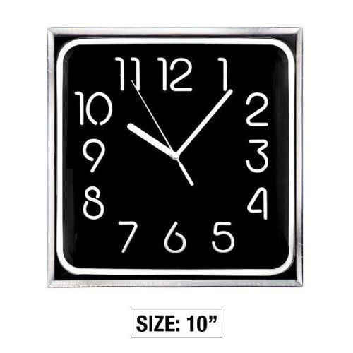 10 Inch Square Stylo Wall Clock - Black Household Bedroom