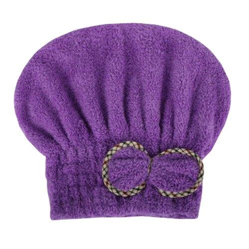 "Water Absorption Soft Turban Lovely Bowknot Shower Cap Bath Hair Dry Towel 9.84""x25.59""(Purple-1)"