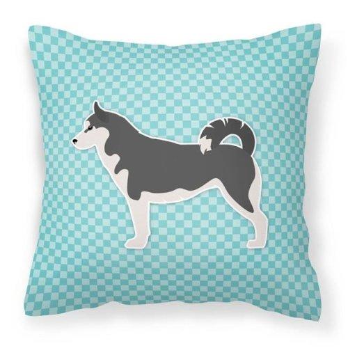 Carolines Treasures BB3780PW1414 Siberian Husky Checkerboard Blue Fabric Decorative Pillow