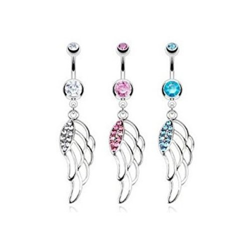 Crystal Cluster Hollow Floating Angel Wing Belly Bar