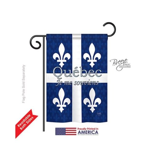 Breeze Decor 58165 Canada Provinces Quebec 2-Sided Impression Garden Flag - 13 x 18.5 in.