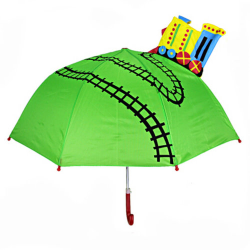 Childrens  Rainy Day Umbrella /Bright colors/Kids Umbrella?train track