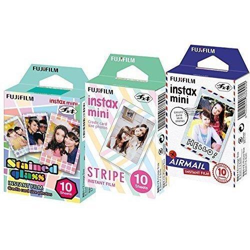 Fuji Instax Mini Stained Glass Stripe and Airmail Films Mini 8 50s Mini 90 Mini 25 Pack of 3