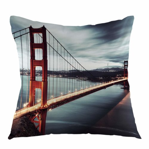 Melyaxu Bridge Pillow Case Golden Gate Bridge Throw Pillow Cover Square Cushion Cover for Sofa Couch Bedroom Living Room Dorm Decoration 18 x 18 Inch