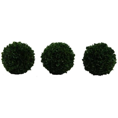 Admired By Nature ABN5P012-GRN-3 5 in. Faux Preserved Artificial Boxwood Ball Topiary Plant, Green - Set of 3
