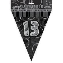 Age 13 Birthday Flag Bunting Black Glitz