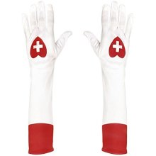 Widmann 02423 - long Gloves White For Nurse -  gloves nurse hen womens party fancy dress themed do white costume