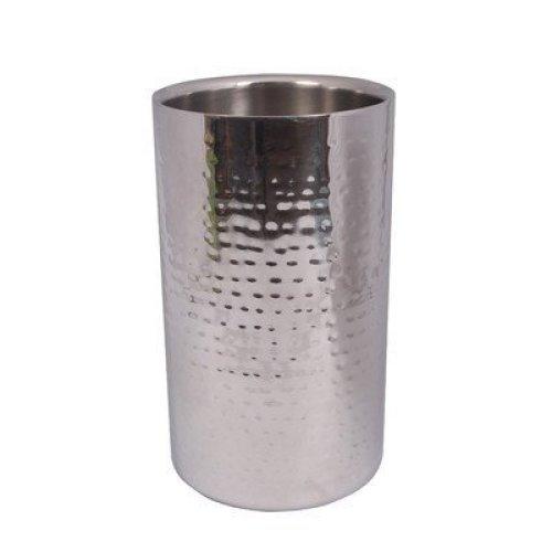 Epicurean Hammered Steel Elegant Straight Wine Cooler, Stainless Steel, Silver